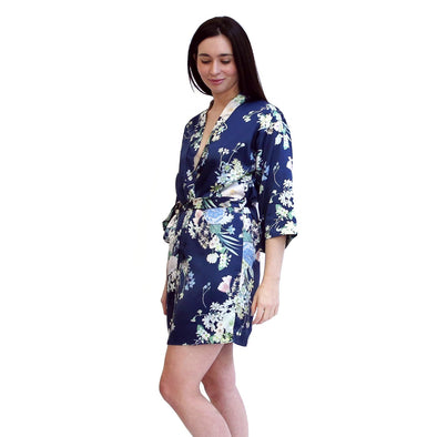 Hidden Intimates Flora Nikrooz Navy Printed Floral Short Robe