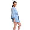 Hidden Intimates Josie Natori Soft Short Robe with Contrast Trim and Bell Sleeve