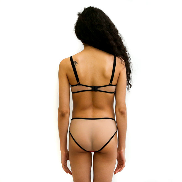 Hidden Intimates Tenuit Handmade Colorblock Orange Tan Bikini Panty