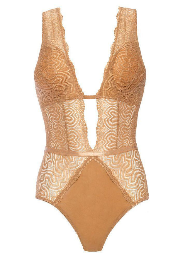 Lucette Plus Size Gold Lace Teddy
