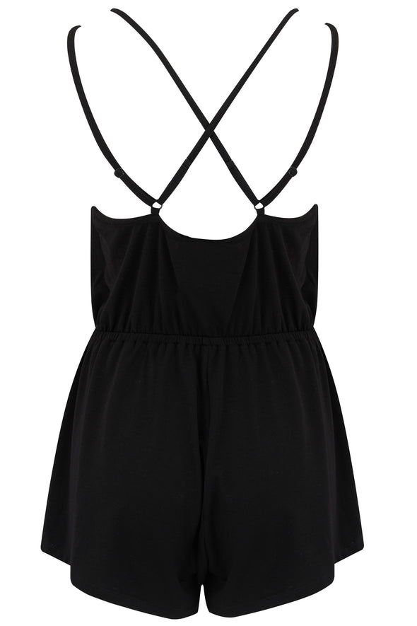 Pour Moi Sofa Love Double Strap Playsuit Black