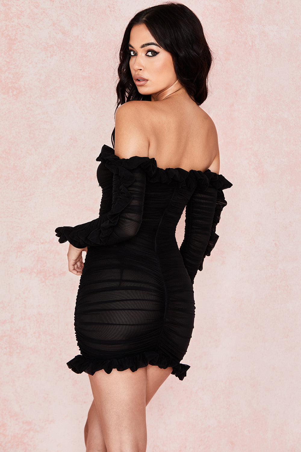 black long sleeve frill dress