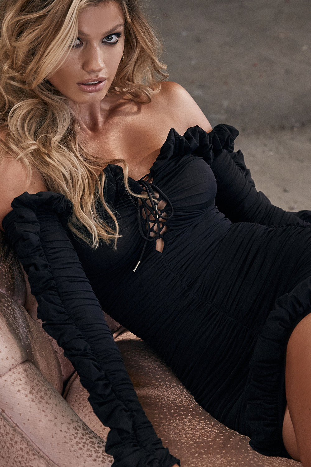 black long sleeve off the shoulder dress