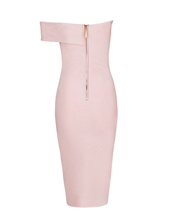 blush asymmetrical dress