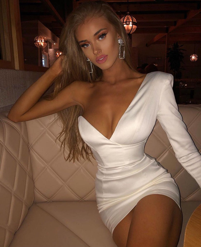 deep v one shoulder dress