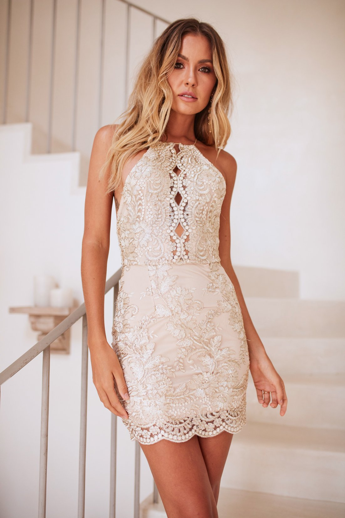 embellished high neck dress