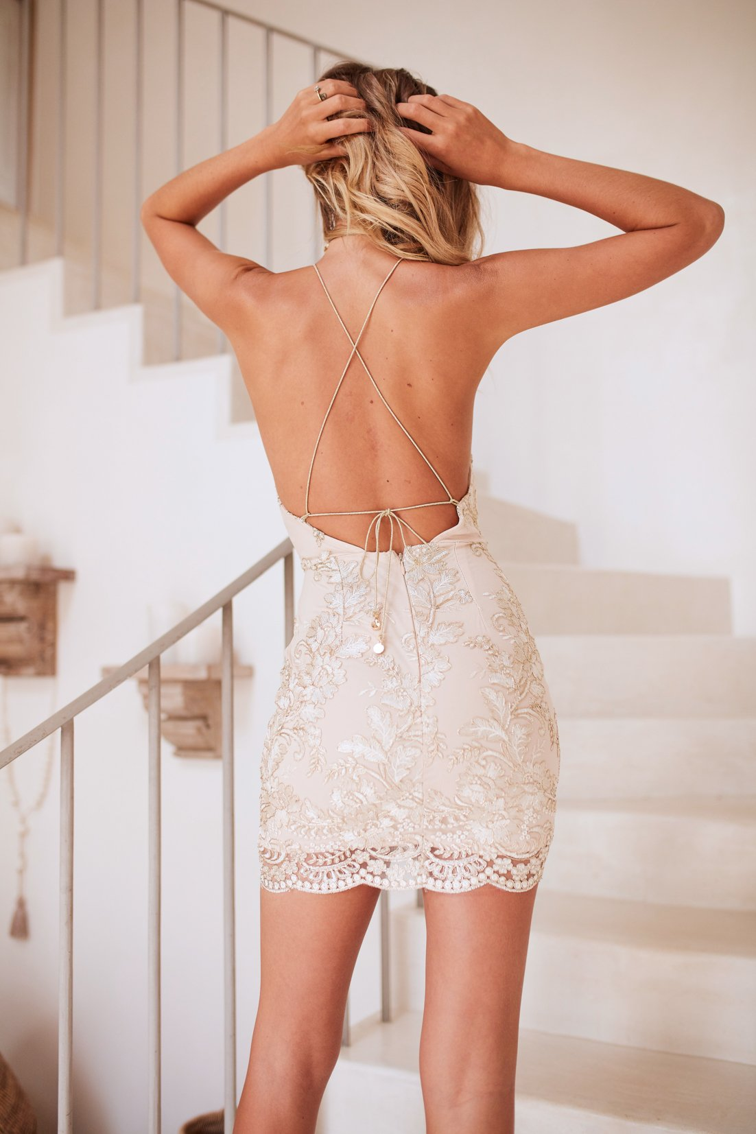 embellished open back dress