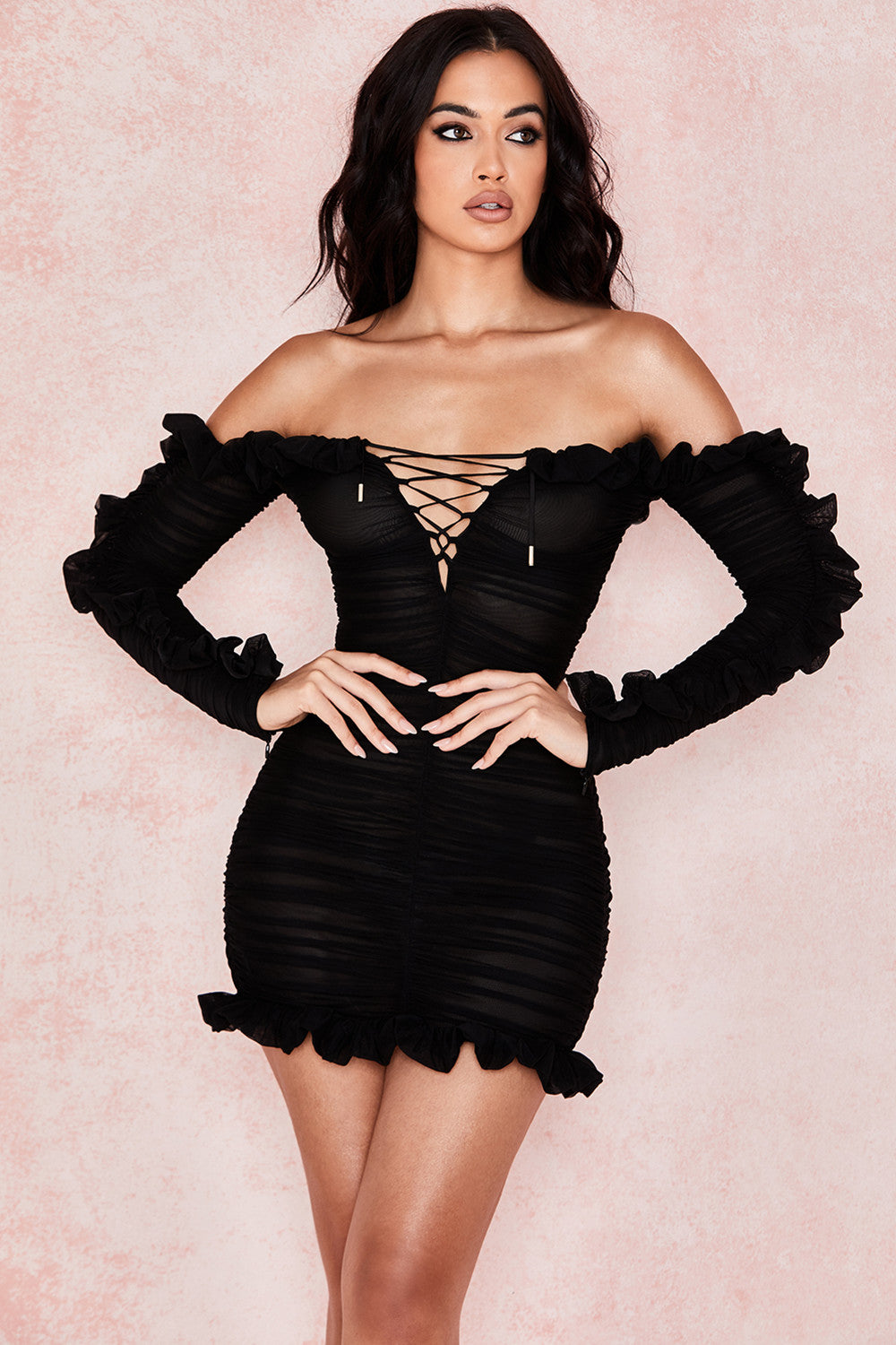 long sleeve lace up off the shoulder dress