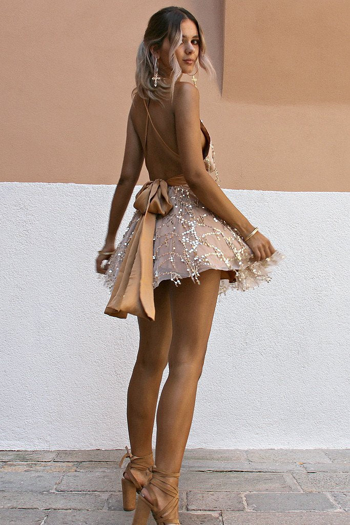 short gold sequin dress