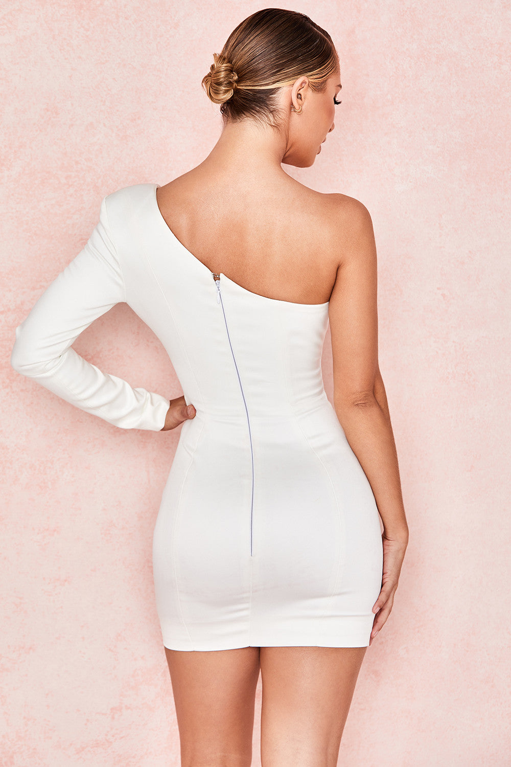 white one sleeve bodycon dress