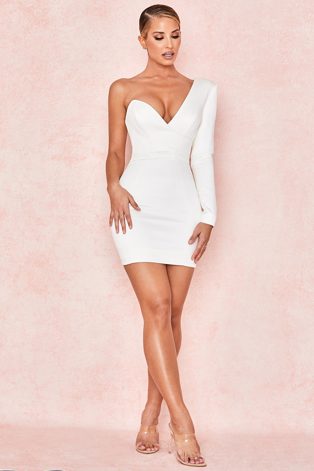 white on sleeve mini dress