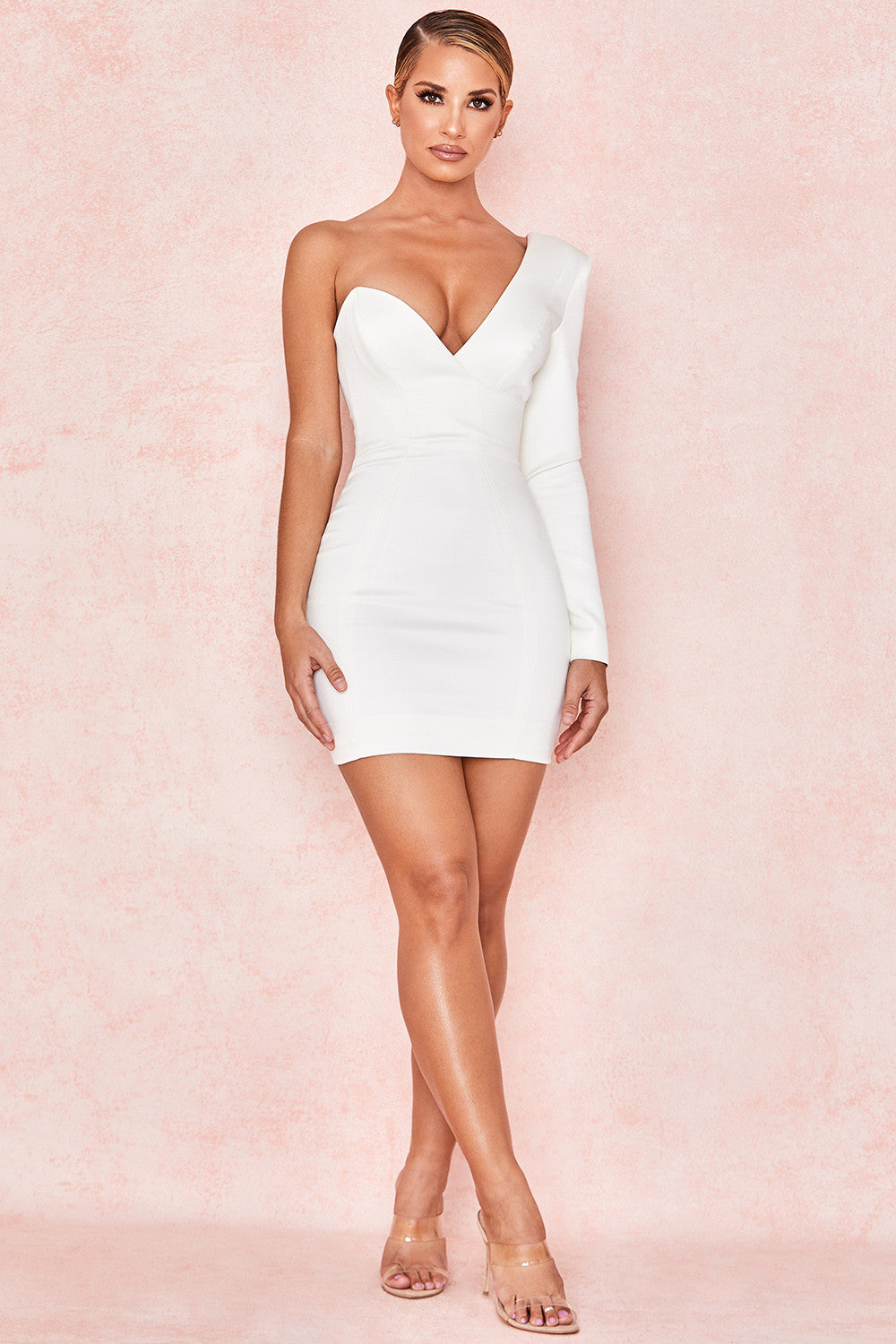 white plunge one shoulder bodycon dress