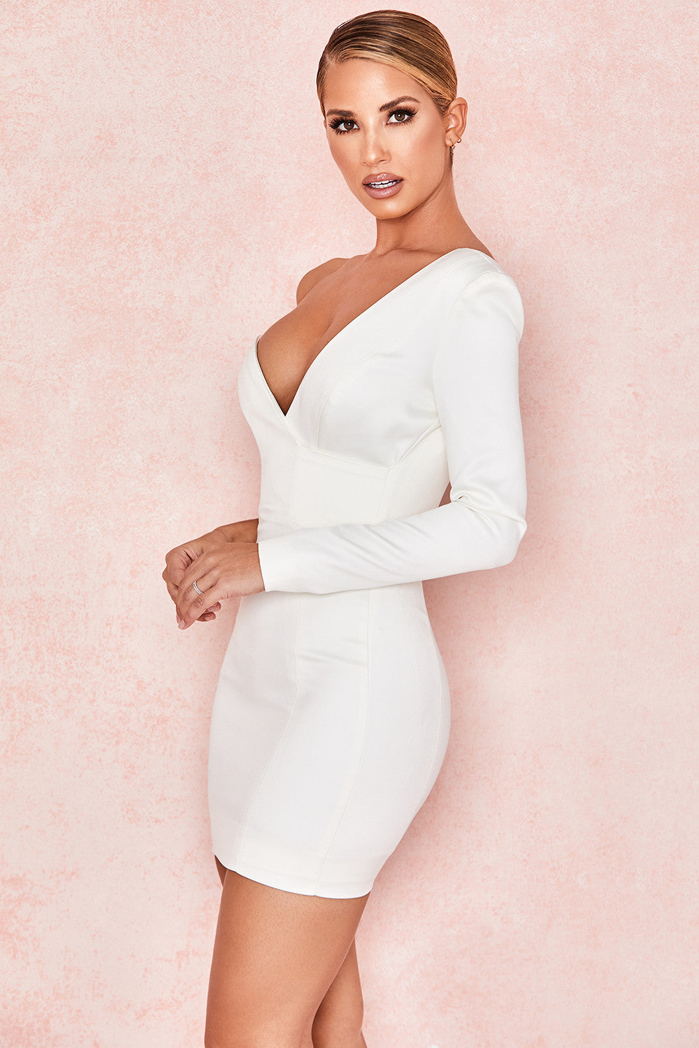white plunge one shoulder bodycon mini dress