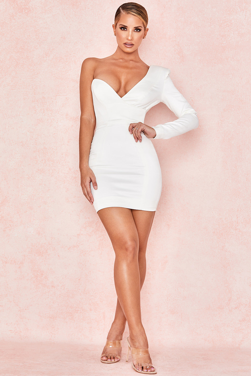 white plunge one sleeve bodycon mini dress