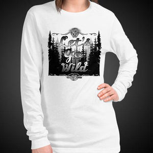 Let's Go Wild Travis Living Wilderness Tee Girls Long Sleeve Shirt Authentic Quality Womens Shirts