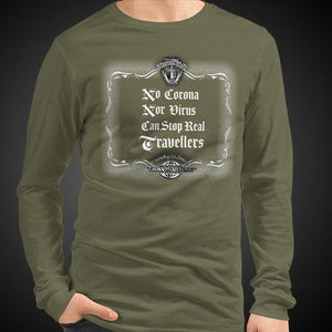 No Corona Nor Virus Can Stop Real Travelers Travis Living Tee Men's Long Sleeve Travel Shirts