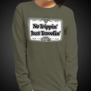 No Trippin' Just Travelin' Travis Living Tee Girls Long Sleeve Shirt Authentic Quality Womens Shirts
