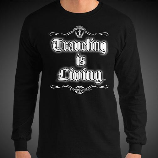 Traveling is Living Travis Living Tee Men's Long Sleeve Shirt Authentic Quality Men's Shirts