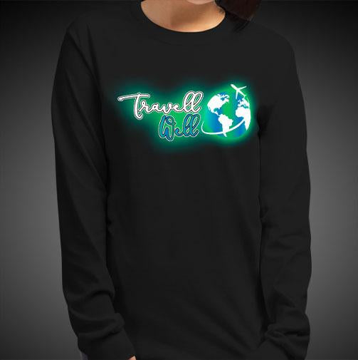 Travell Well Logo Travis Living Tee Girls Long Sleeve Shirt Authentic Quality Womens Shirts
