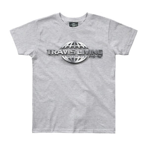 Travis Living Logo Shirt Boys Travel World 3D Globe Platinum Boy Tee Shirts