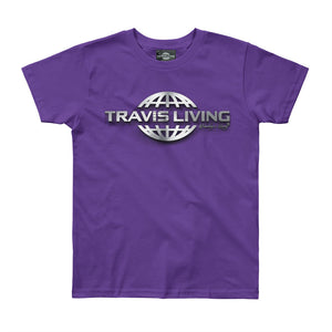 Travis Living Logo Shirt Girls Travel World 3D Globe Platinum Girl Tee Shirts