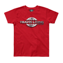 Load image into Gallery viewer, Travis Living Logo Shirt Girls Travel World 3D Globe Platinum Girl Tee Shirts