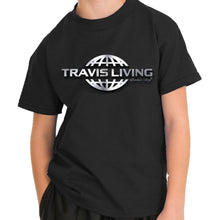 Load image into Gallery viewer, Travis Living Logo Shirt Boys Travel World 3D Globe Platinum Boy Tee Shirts