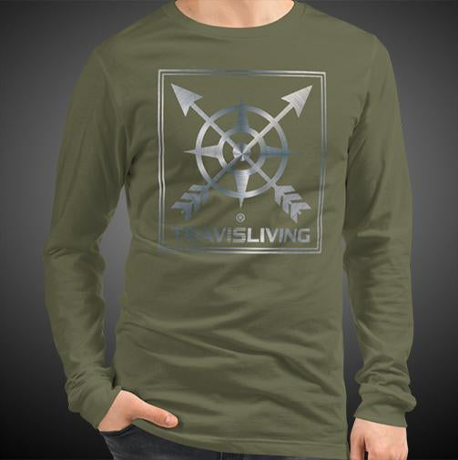 Travis Living Compass Arrow Logo Travel Tee Men's Long Sleeve Shirt Authentic Quality Men's Shirts