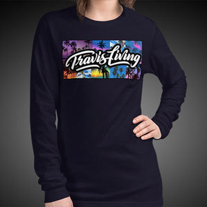 Travis Living Long Sleeve Shirt Womens Travel Palm Trees T-Shirt Girls Tees