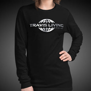 Travis Living Long Sleeve Shirts Womens Travel World 3D Platinum Globe T-Shirt Girl Tees