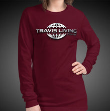 Load image into Gallery viewer, Travis Living Long Sleeve Shirts Womens Travel World 3D Platinum Globe T-Shirt Girl Tees