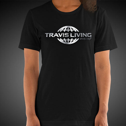 Travis Living Shirt Womens Travel World 3D Platinum Globe T-Shirt Girl Tees