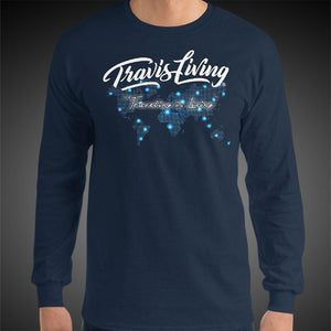 Travis Living Long Sleeve Shirt Mens Travel World Map T-Shirt Men Tees