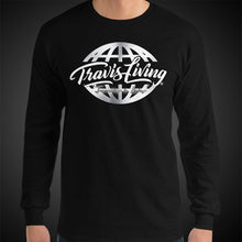 Load image into Gallery viewer, Travis Living Long Sleeve Shirt Mens Travel World Platinum Globe Travel T-Shirt Men Tees