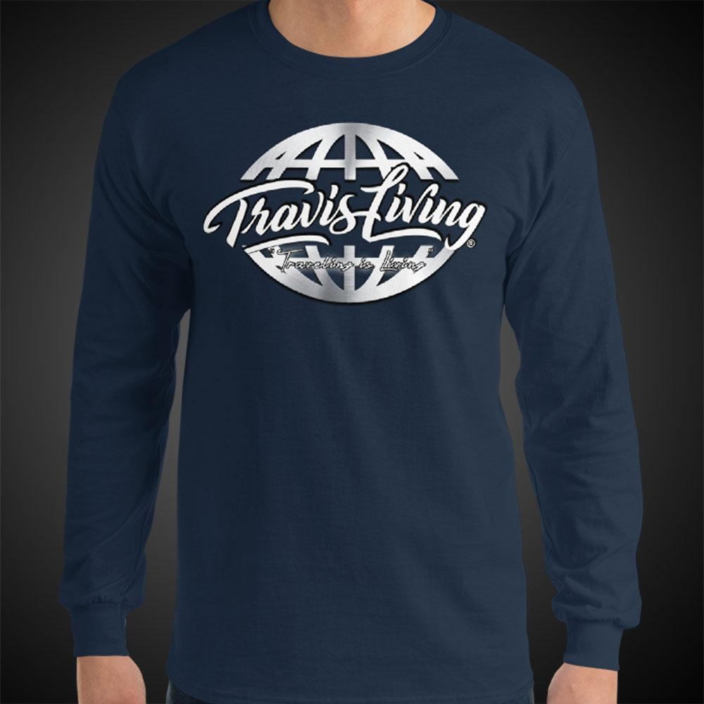 Travis Living Long Sleeve Shirt Mens Travel World Platinum Globe Travel T-Shirt Men Tees