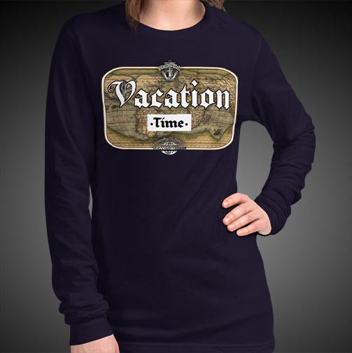 Vacation Time Travis Living Tee Girls Long Sleeve Shirt Authentic Quality Womens Shirts