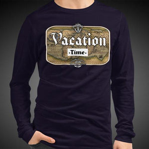 Vacation Time Travis Living Tee Men's Long Sleeve Shirt Authentic Quality Men's Shirts