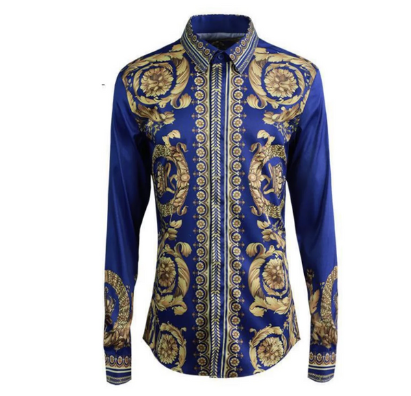 Blue Gold Trendy Print Shirt sleeve Slim Chemise Shirt