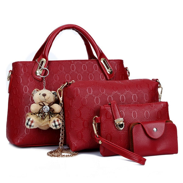 4 Pcs/Set PU Leather Handbag