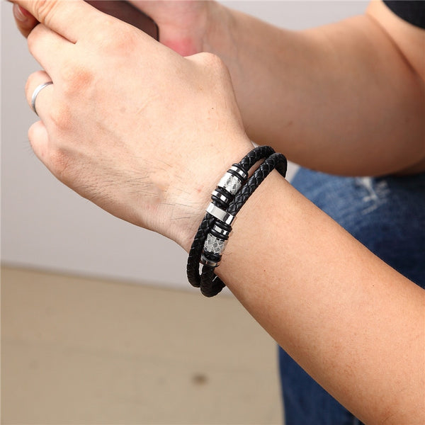 Leather Double Layer Black Gold Stainless Steel Magnetic Bracelet