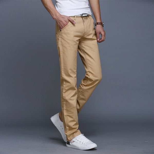 Solid Slim Casual Cotton Stretch Chinos Trouser