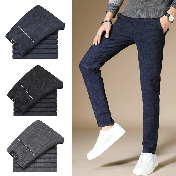 Casual Cotton Blended Grid Straight chinos Slim Fit Trouser