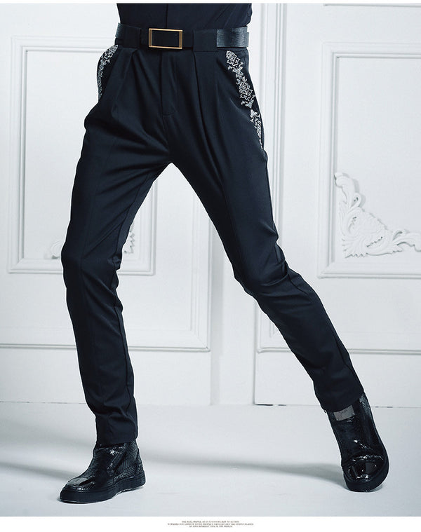 Black Embroidered slim Haren harem solid  Slim Fit Trouser
