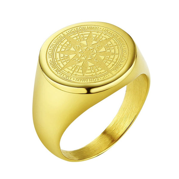 Gold Stainless Steel Navigator Ring