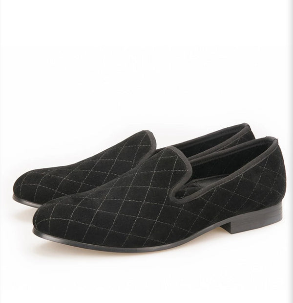 Handmade black velvet with stitching plaid pattern loafer