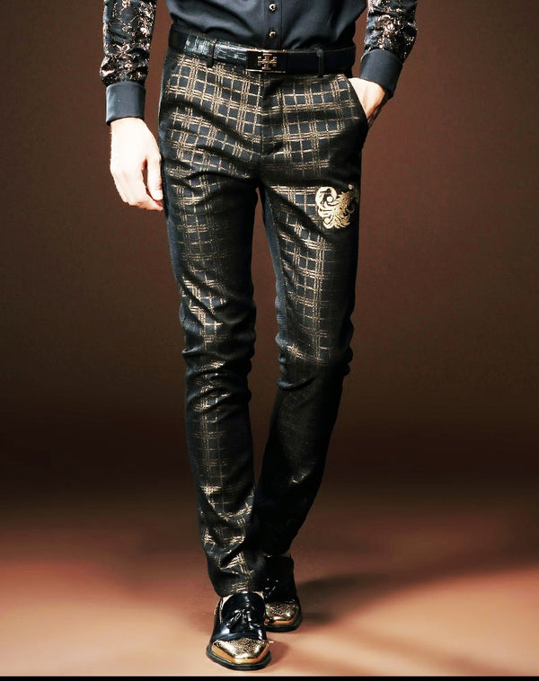 Black lattices gold Court trouser