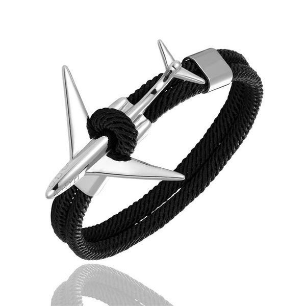 Stainless Steel Airplane Glider Anchor Rope Leather flight Bracelet