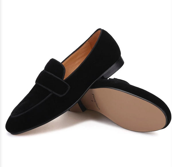 Handmade Black  velvet leather Loafer
