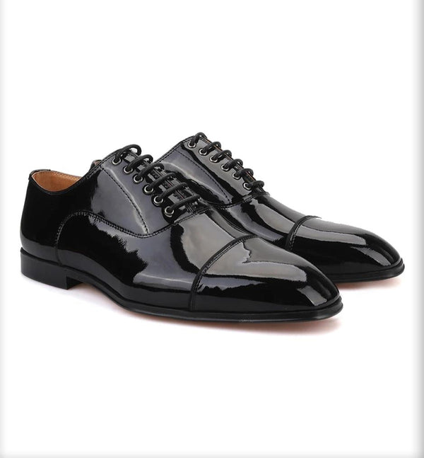 Handmade Black Parent Leather Banquet Shoe