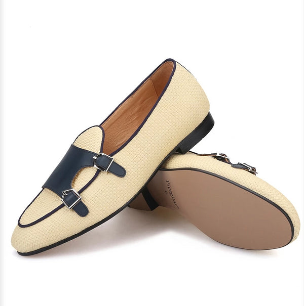 Woven Rafia double-monk Handcrafted Loafers